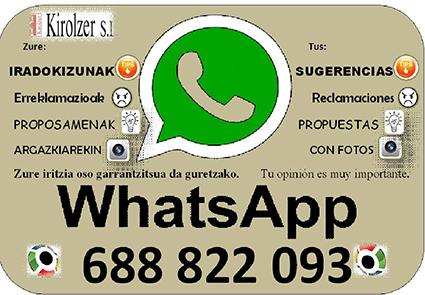 Servicio de Whatsapp para reclamaciones y sugerencias